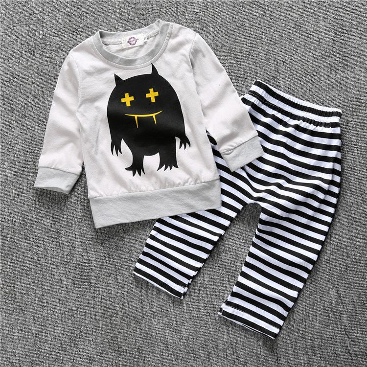 Newborn Baby boys sets infant long sleeve boys clothes baby cartoon coat + striped pants clothes sets