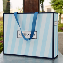 Aegean Sea Style Paper Bag With Blue And White Stripes Luxury Shopping Paper Bag