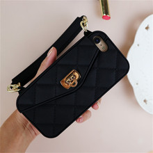Luxury Fashion Soft Silicone Card Bag Phone Case For iPhone 6 6s 7 4.7inch Lady Handbag Chain Mobile Cover Accessories CA5218