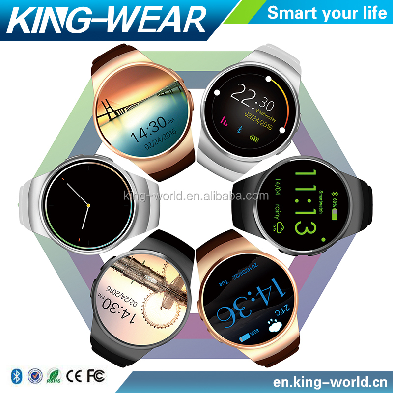 20pcs/Lot 2016 Christmas Promotional Gift KingWear MTK2502C Round screen IPS LCD Bluetooth 4.0 KW18 Smart Watch