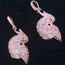 Silver / gold Plated brass mandarin duck CZ Charms Splendid Rhinestone charms pendnat