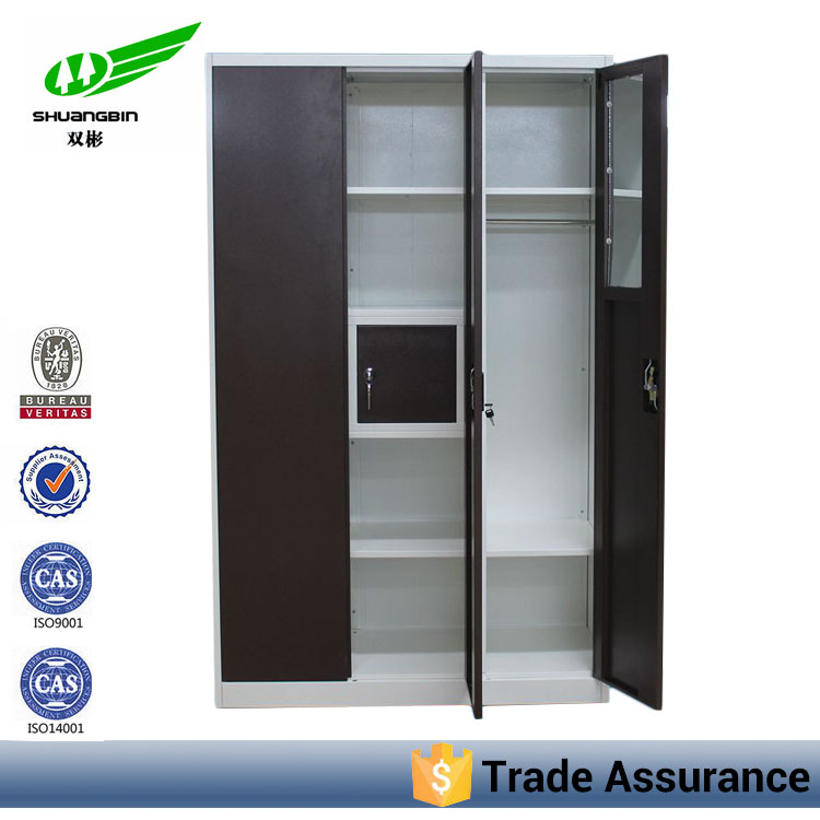 Three door high quality steel durable galvanized vertical large wardrobe armoires