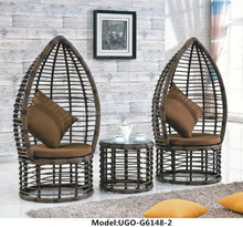 heavy duty double rattan wicker canopy chair/rattan egg sofa hanging chair for sale