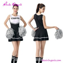 Cheap Price Black White One Piece Dress Sexy Cheerleader Costume