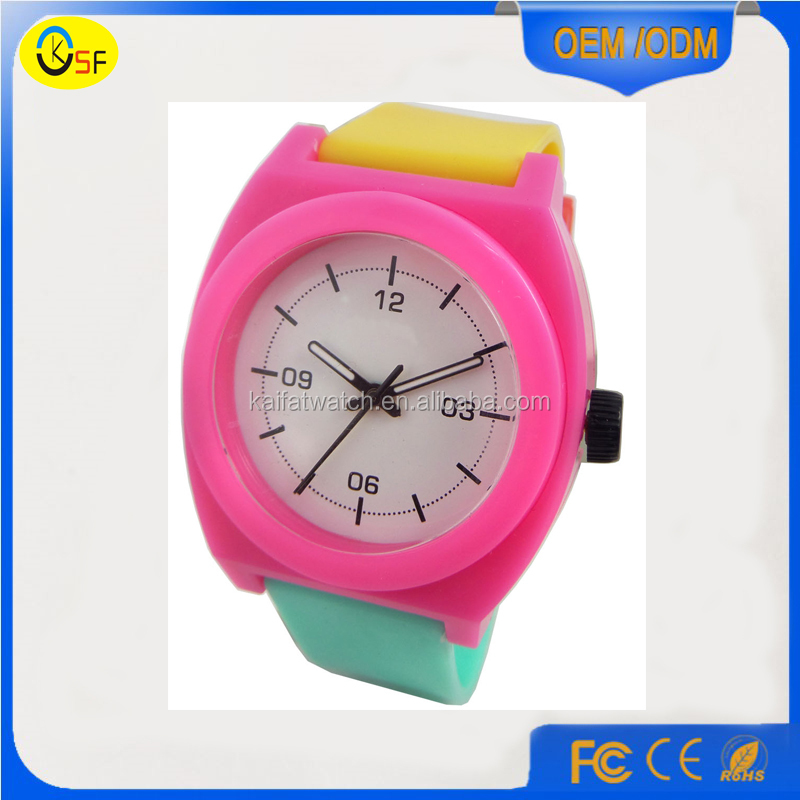 new sweet nixoning style silicone watch jelly pastel double colored rubber watch kids