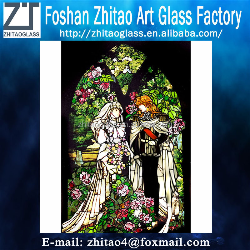 Church classical romantic pattern stained glass
