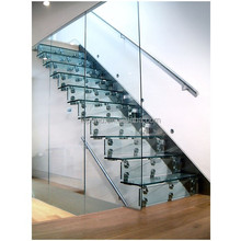 N117 Wholesale China Cheap Glass Stairs Price, Safety Custom Cantilever Glass Staircase, High Quality Straight Glass Stairs