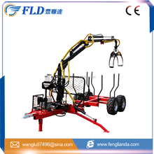 China Log timber trailer with crane grapple for tractor and ATV/hot sale