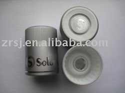 Silver flip top plastic vodka bottle cap