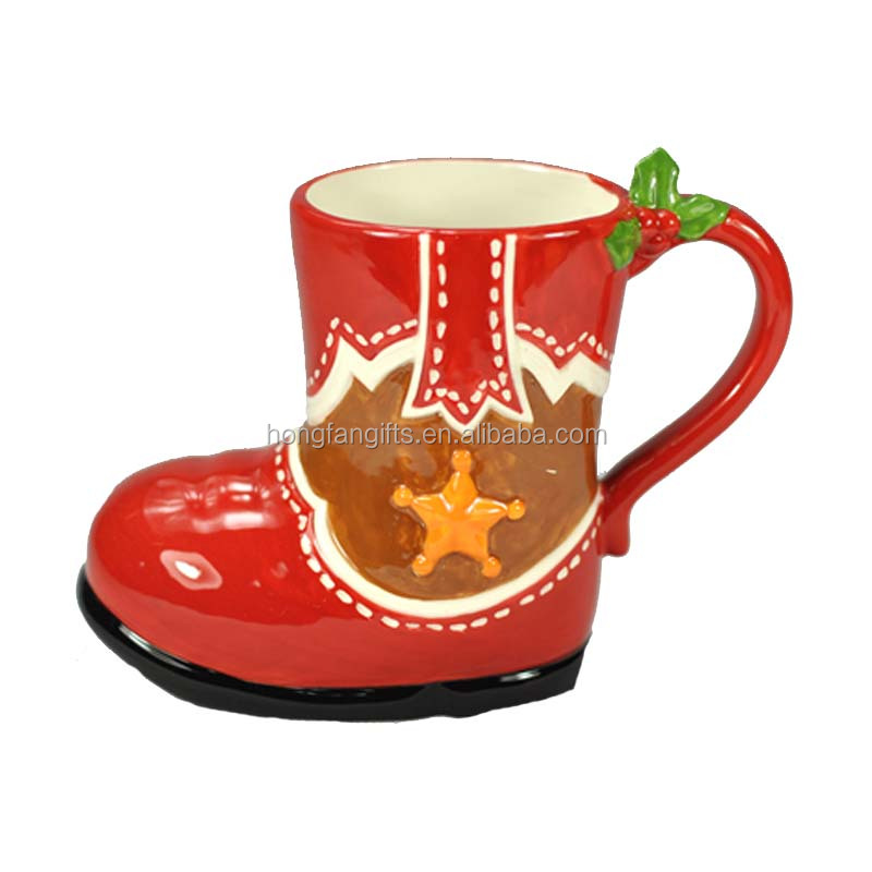 Small Christmas Holiday Ceramic Boot Mug