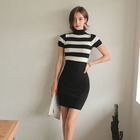 Hot Women Ladies Elegant Bodycon Fashion Casual Garment Stripe Sexy Party Slim Pencil Dress