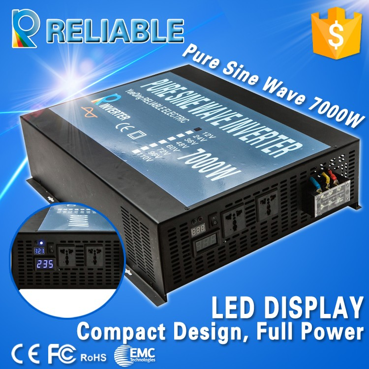 Inverter Manufacturer, 7000W, DC 12/24/48/110V, AC 110/220V Input Pure Sine Wave Solar/Car/Appliance Power System Inverter