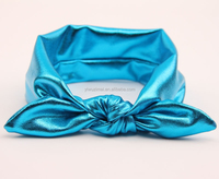Boutique fancy baby messy bow head wrap, cute toddler girl gold rabbit ear headband, kids knot headband