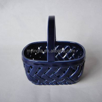 handmade small ceramic fruit basket with handle