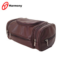 Durable faux leather business men pu toiletry bag