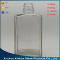 260ml Square Liquor Vodka Wine Water Drinking Glass Bottle
