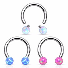 Internal Thread Opal Ball Circular Barbell Nose Rings