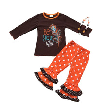 hot sale winter girls thanksgiving outfits kids clothing wholesale from China