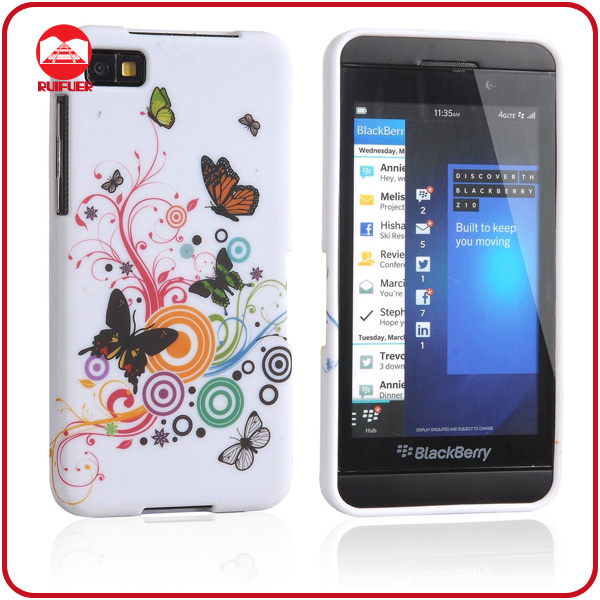 Top Fashion White Butterfly Design Flexible Protective Silicone TPU Shell Phone Case for Blackberry z10