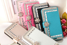 Diamond Pearl Leather Flip Phone Case For Iphone4 4s / 5 5s /6 6s