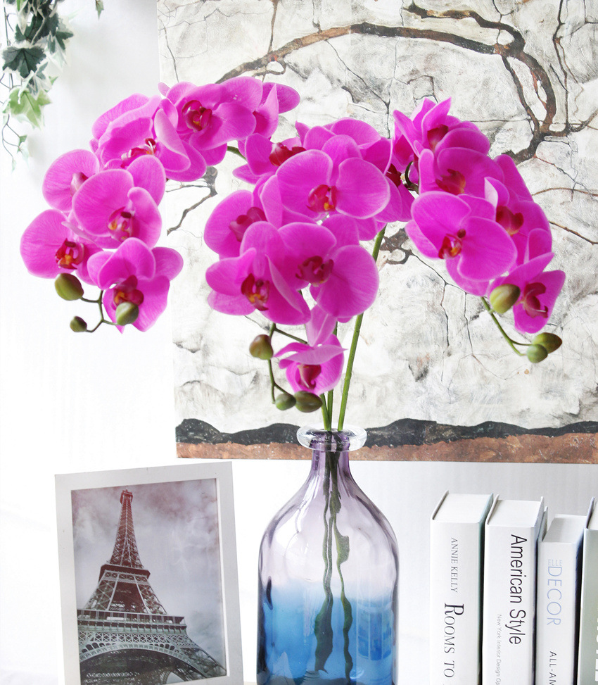 2016 High quality artificial blue orchid flower artificial orchid latex real touch flowers artificial phalaenopsis orchids