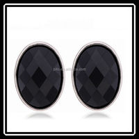 Hot Wholesale 2015 Alloy Gold Plating Women Earrings Black Oval Stud Earrings MGJ0233