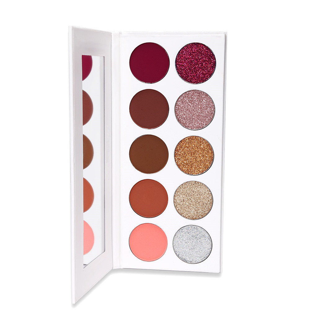 Private label 5+5 cosmetic 5 color glitter and 5 color eyeshadow mix glitter eyeshadow palette