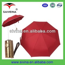 2014 New custom logo windproof design auto 3 fold tourist umbrella