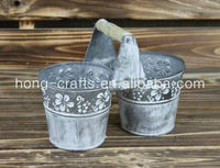 Shabby Chic Oriental Style Small Decorative Grey Tin Flower Pots/Antique Buckets