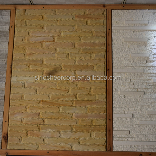 Nice yellow brick wall slate tile,wall panels culture stone design