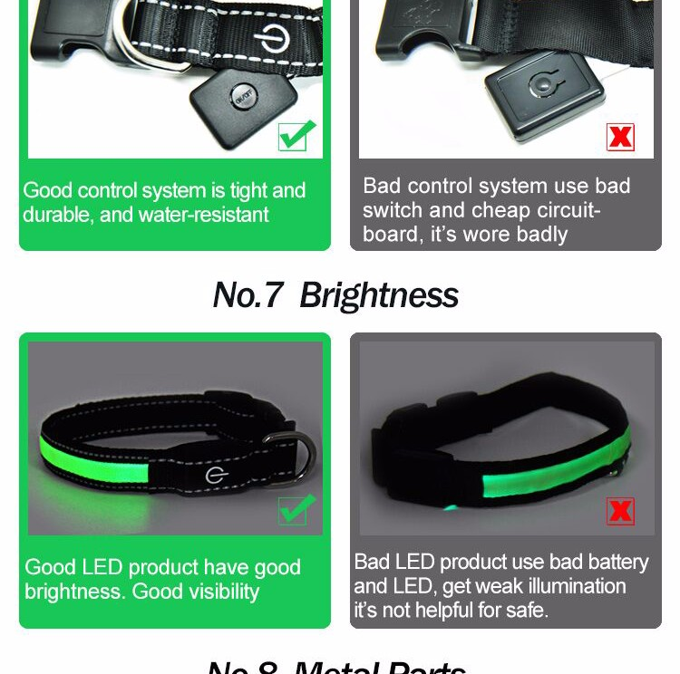 Wholesale Polyester Webbing Fashioned Illuminated Remarkable Security Led Dog Collar