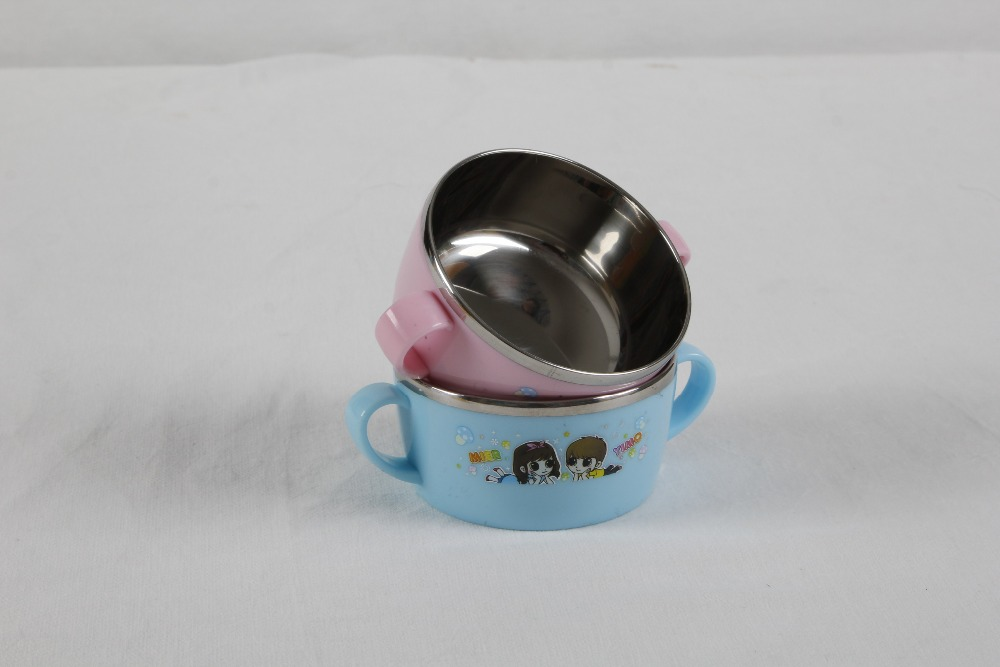 baby stainless steel inside/PP outside bowl