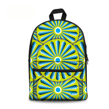 15 Inch Canvas 3D Effect Print Geometric Pattern School Bag Backpack for Kids School Student Boy and Girl