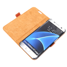 Cellular phone accessory genuine leather mobile case for samsung galaxy s7 edge book cover for android phone