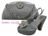 GF8001 silver wholesale italy design shoe and bag to match for party / wedding