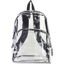 Promo vinyl clear backpack with front zipper pocket