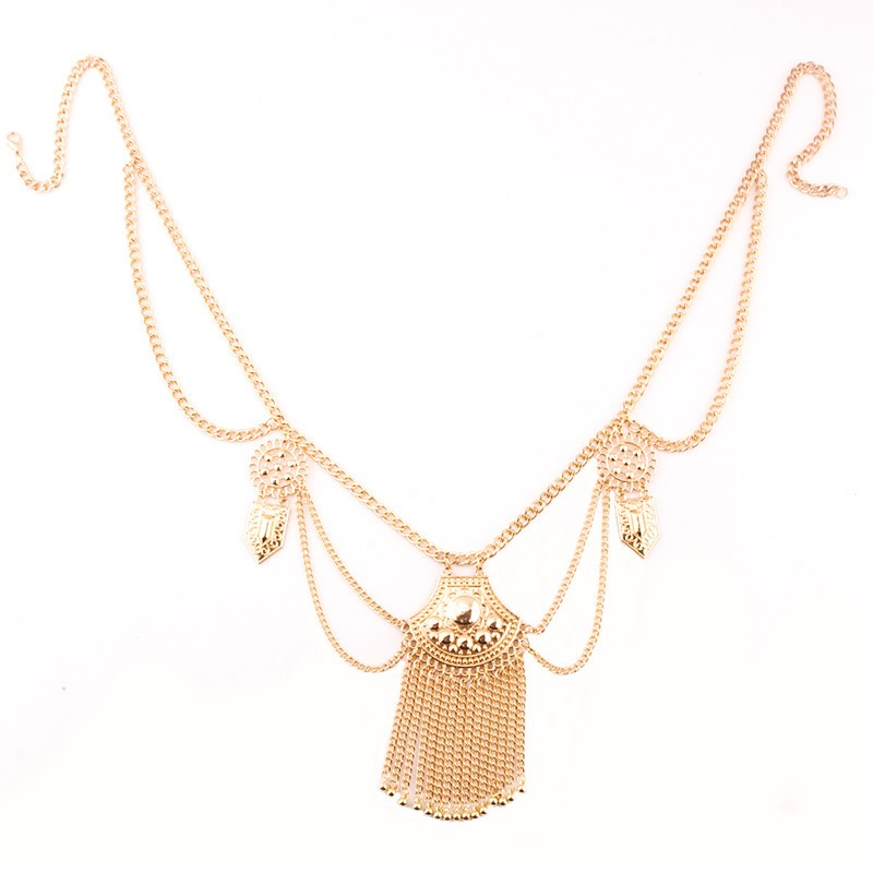 Indian Style Alloy Gold Silver Plated Body Chain Necklaces Round Big Carved Sequin Thin Bunch Tassel New Design Waist Chain