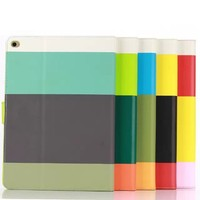 Unique Rainbow wallet leather case for ipad air 2 case with credit card slot and stand.