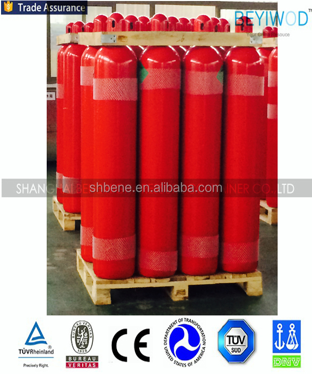 CE certified seamless steel equipped gas cylinder 80L co2 bottle for good price