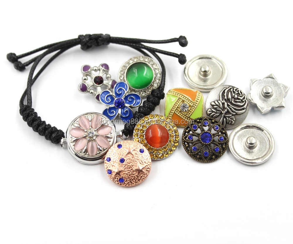 Factory Wholesale Metal Button Snaps For Leather Bracelet, Custom Metal Snap Button, Metal Rhinestone Buttons