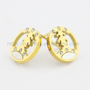 shell earring cute little girl round gold children jewelry china wholesaler