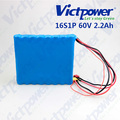 For unicycle lithium ion battery pack one wheel battery 16s1p 60v 2.2ah
