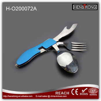 Stainless Steel Foldable multi-purpose camping tool with fork spoon