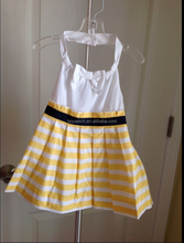 2015 Summer girls dress casual sleeveless ruffle dresses NWT Janie and Jack Yellow & White Stripe Halter Dress