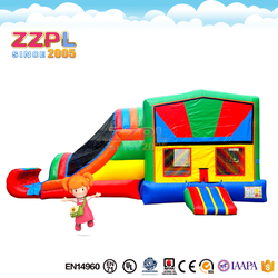 ZZPL Colorful inflatable bouncer with slide for fun Party use inflatable combo with different banners Outdoor jumping castle