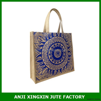 Fancy jute bag recyable and foldable shopping bag printing your logo on