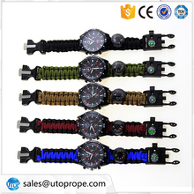 Outdoor Survival watchband compass rope paracord camping equipment tools