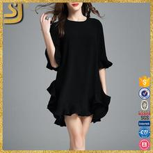 Nice short sleeved formal dresses for dinner, plain dyed pleated front short and long back dress