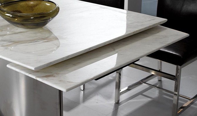 Contemporary Rectangle Modern Extendable Marble Top Dining