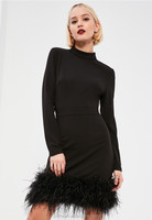 European fashion lady sexy black high neck feather trim dresses women feather party dresses